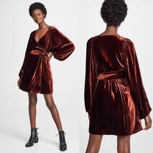 A.L.C. Carlo Cognac Rust Velvet Wrap Mini Dress